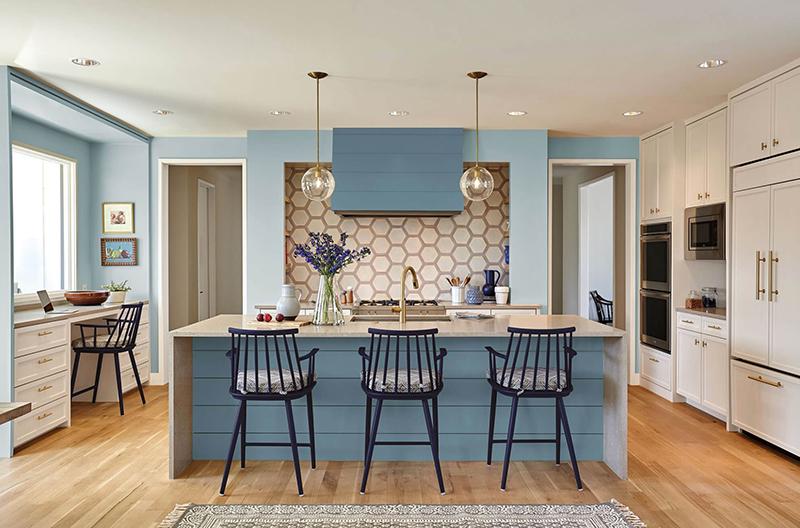 thiết kế nội thất nhà bếp xanh dương